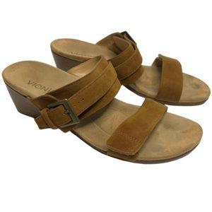 Vionic Natoma Brown Suede Wedge Sandals Orthaheel